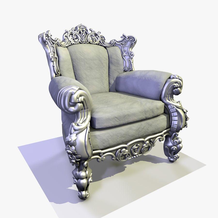 3 Baroque Velvet Armchair royalty-free 3d model - Preview no. 19