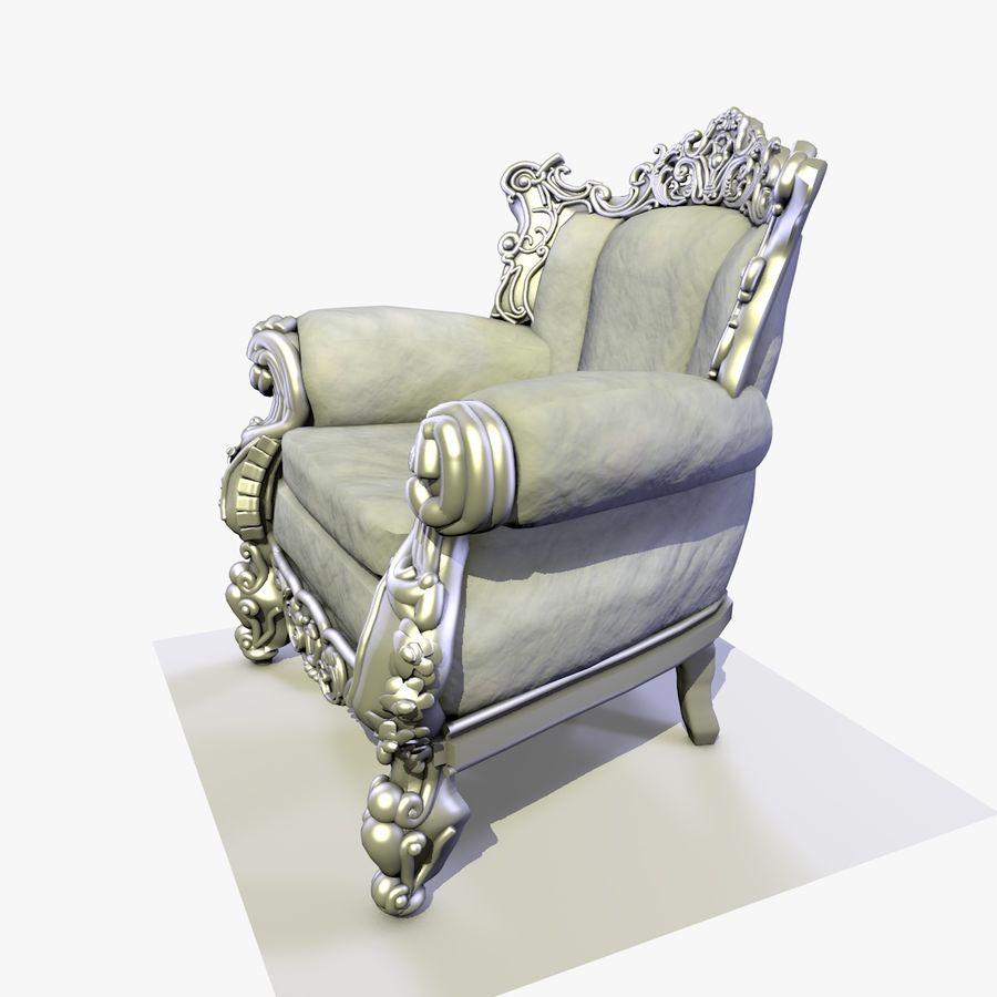 3 Baroque Velvet Armchair royalty-free 3d model - Preview no. 11