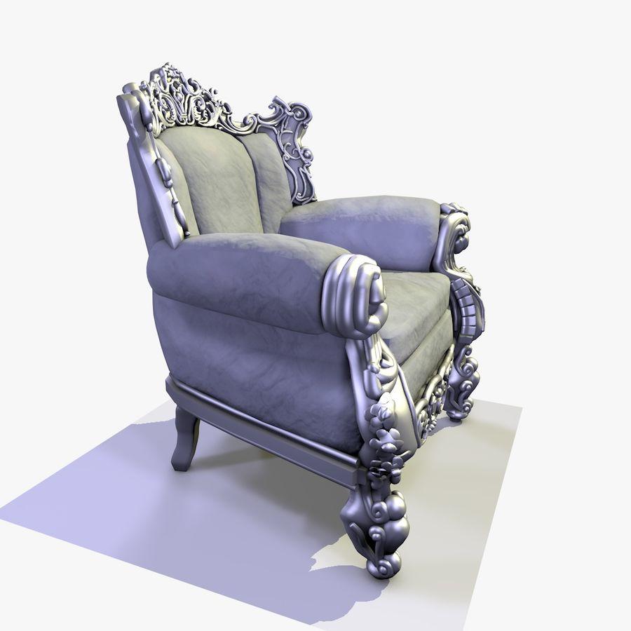 3 Baroque Velvet Armchair royalty-free 3d model - Preview no. 18