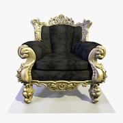 4 Brass Baroque Velvet Armchair 3D模型 3d model