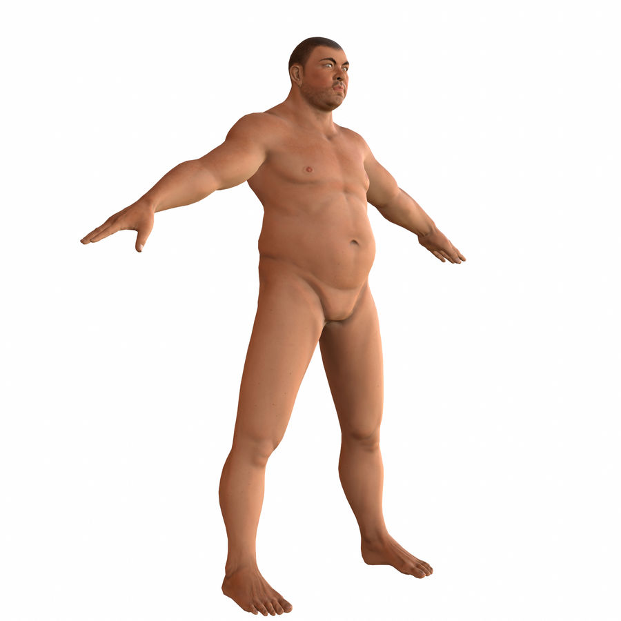 fat man (rigged) royalty-free 3d model - Preview no. 5