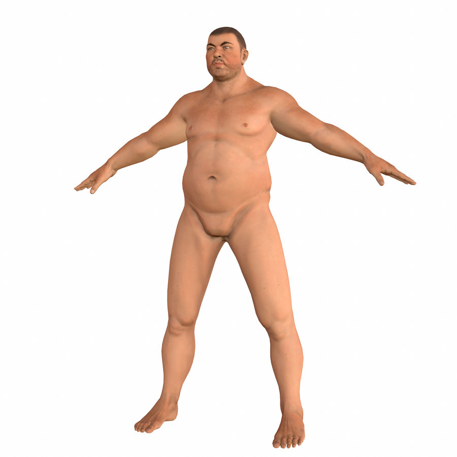 fat man (rigged) royalty-free 3d model - Preview no. 1