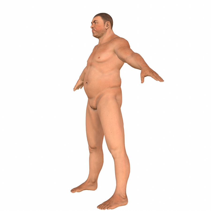 fat man (rigged) royalty-free 3d model - Preview no. 2