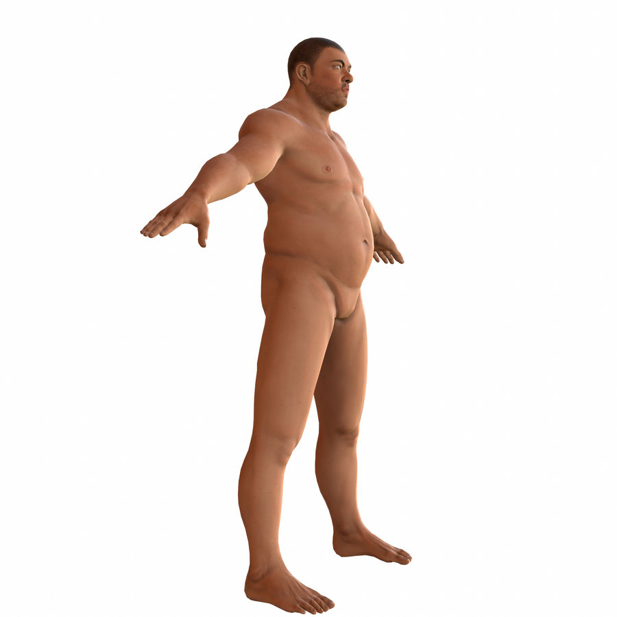 fat man (rigged) royalty-free 3d model - Preview no. 4