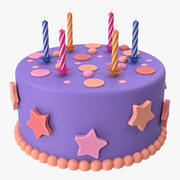 Birthday Cake with Candles 3d model