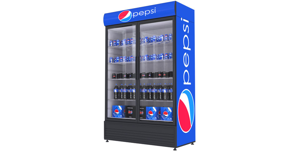 Pepsi Beverage Fridge royalty-free 3d model - Preview no. 3