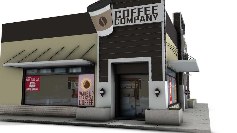 Fast Food Restaurant (A) royalty-free 3d model - Preview no. 6