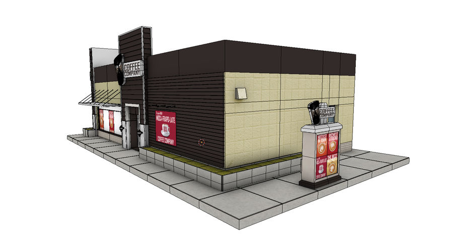 Fast Food Restaurant (A) royalty-free 3d model - Preview no. 9