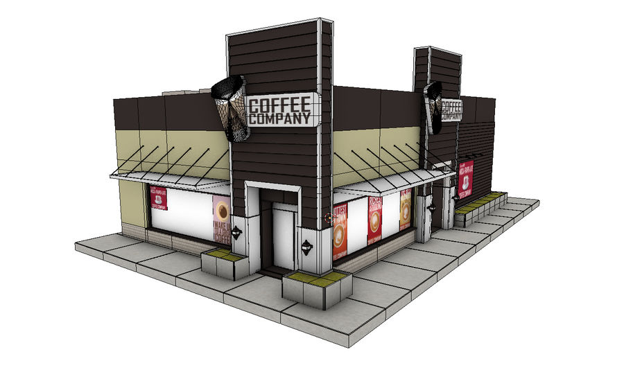 Fast Food Restaurant (A) royalty-free 3d model - Preview no. 7