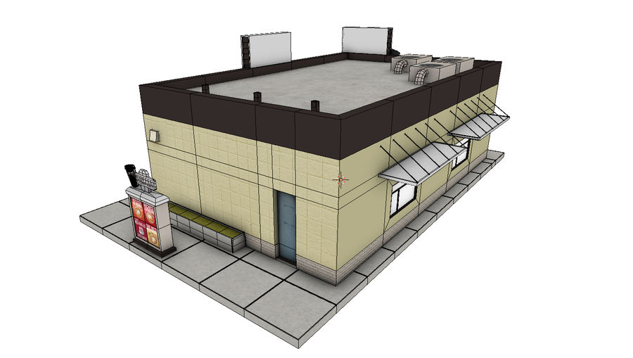 Fast Food Restaurant (A) royalty-free 3d model - Preview no. 11