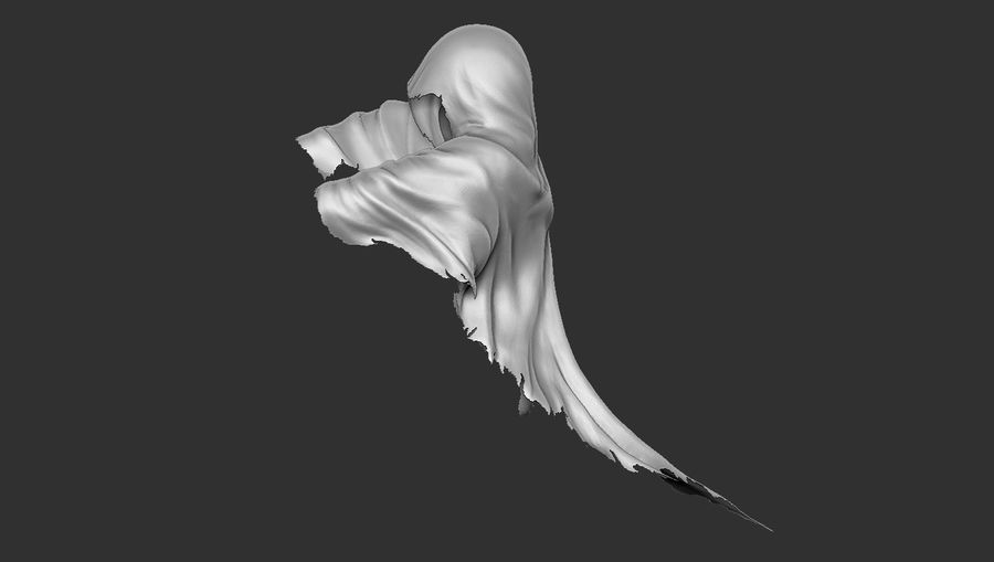 Dark Ghost Halloween royalty-free 3d model - Preview no. 6