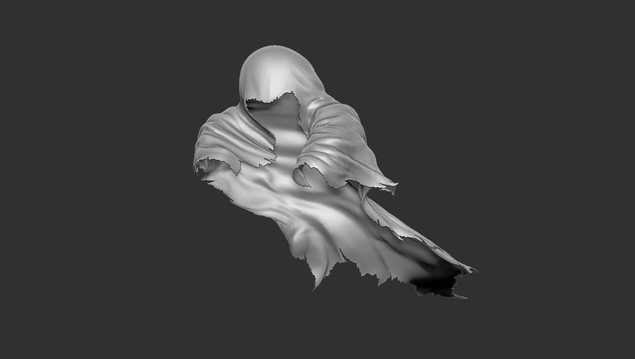 Dark Ghost Halloween royalty-free 3d model - Preview no. 4