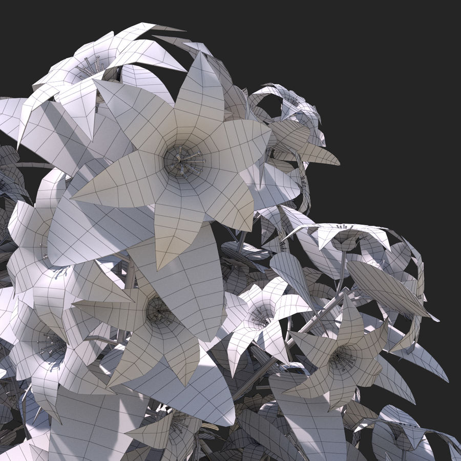 Arbusto de flores 05 royalty-free 3d model - Preview no. 10