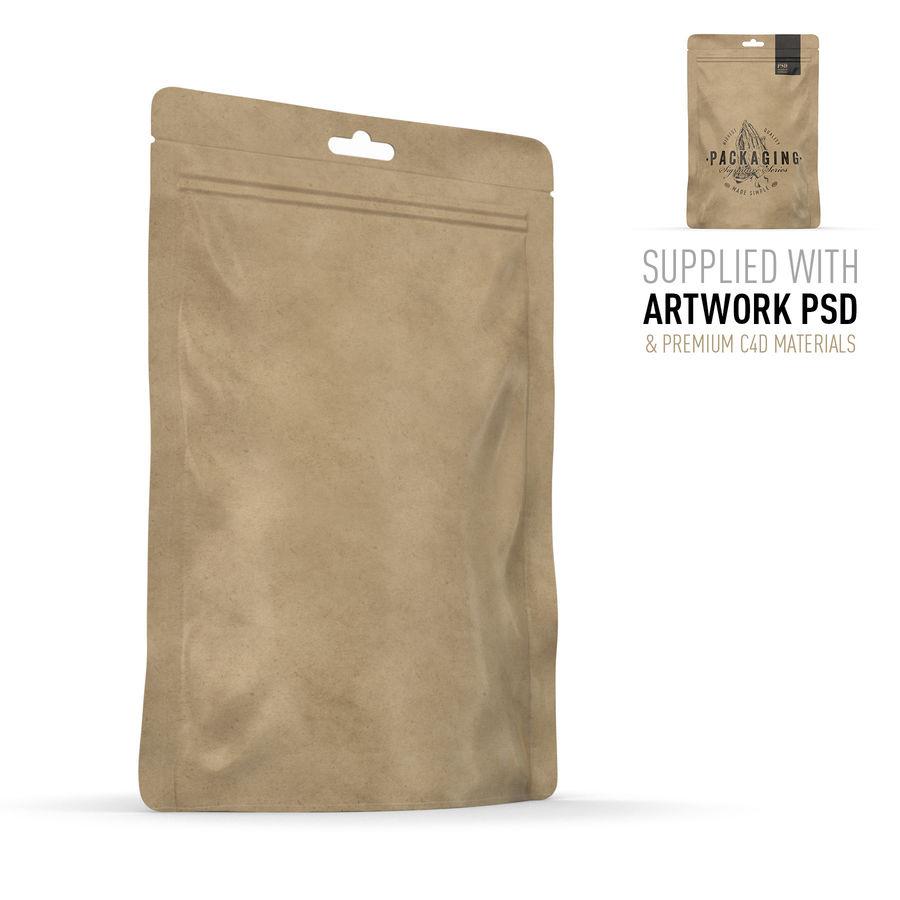 Packaging Food Pouch NATURAL (HQ) royalty-free 3d model - Preview no. 1