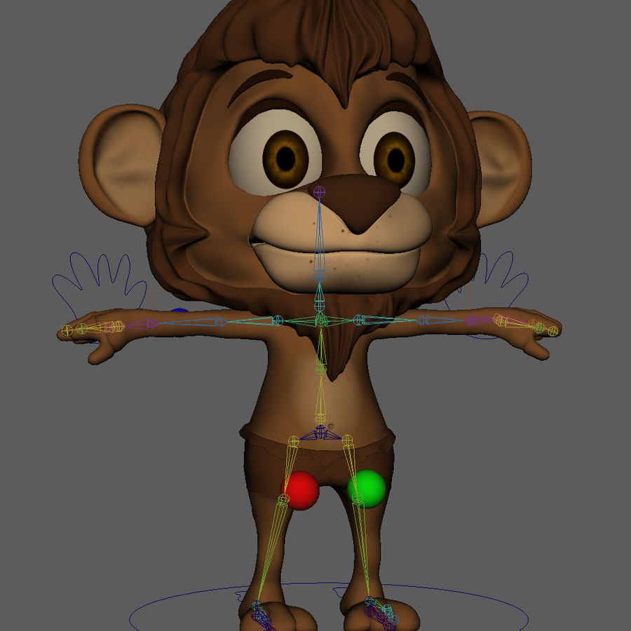 Lion Cartoon royalty-free 3d model - Preview no. 11