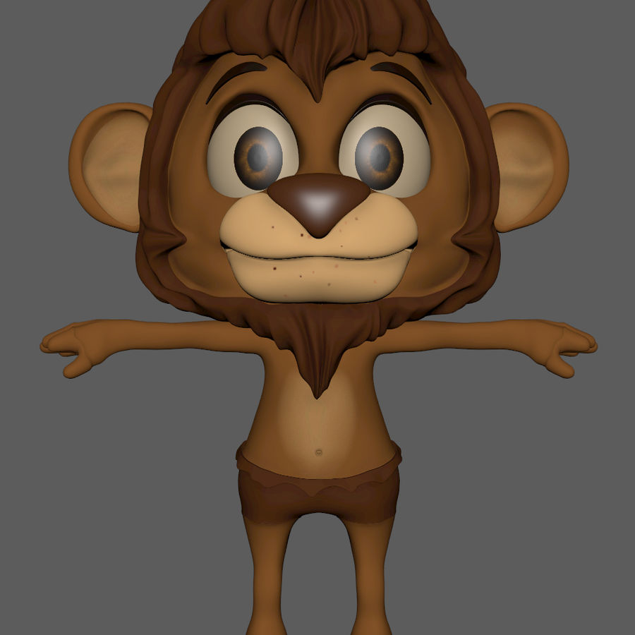 Lion Cartoon royalty-free 3d model - Preview no. 5