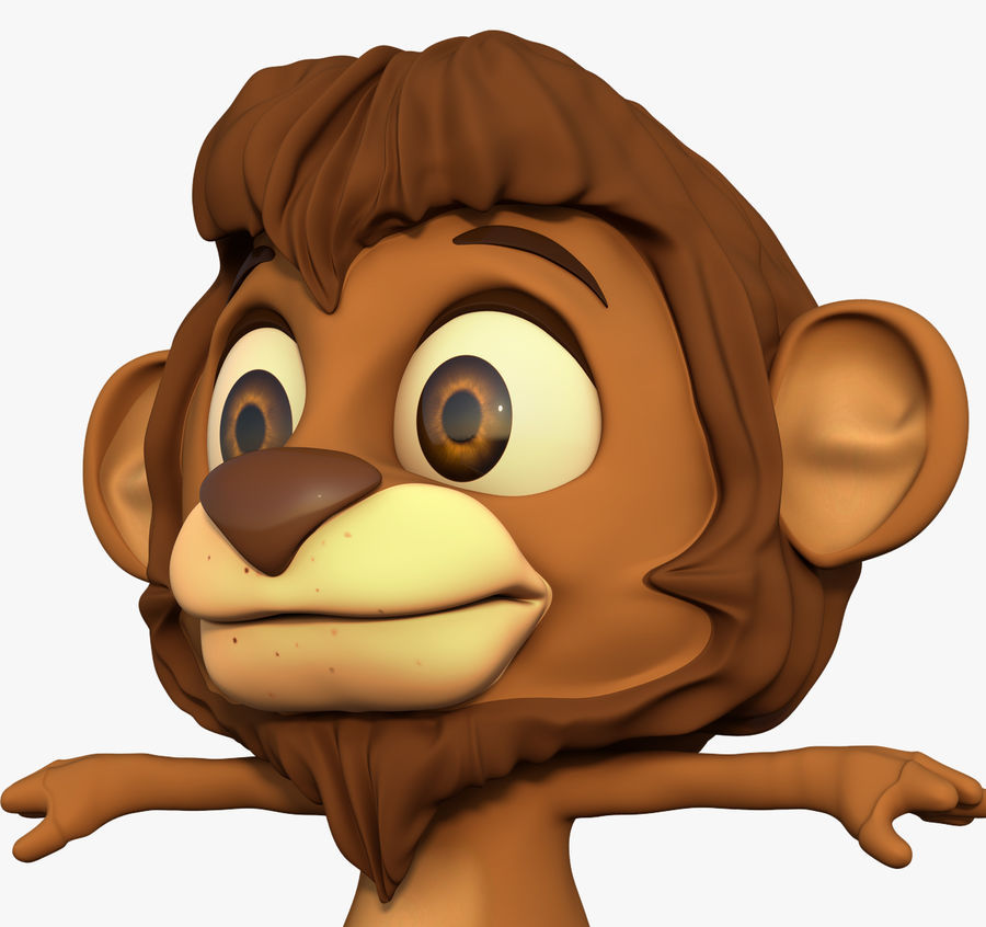 Lion Cartoon royalty-free 3d model - Preview no. 3