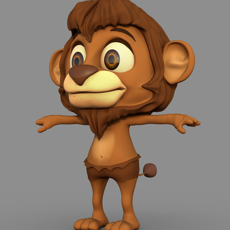 Lion Cartoon royalty-free 3d model - Preview no. 2