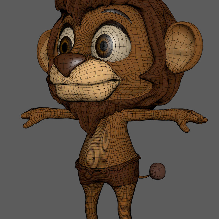 Lion Cartoon royalty-free 3d model - Preview no. 10