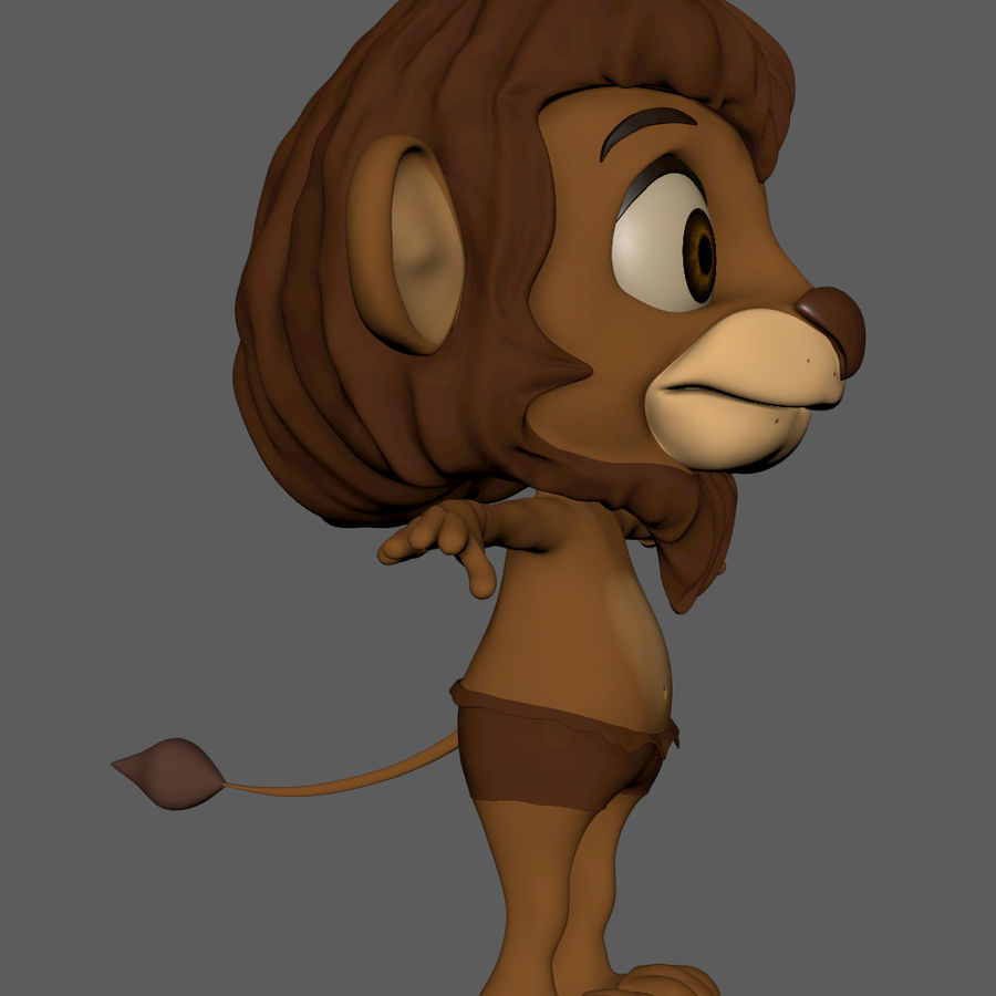 Lion Cartoon royalty-free 3d model - Preview no. 7