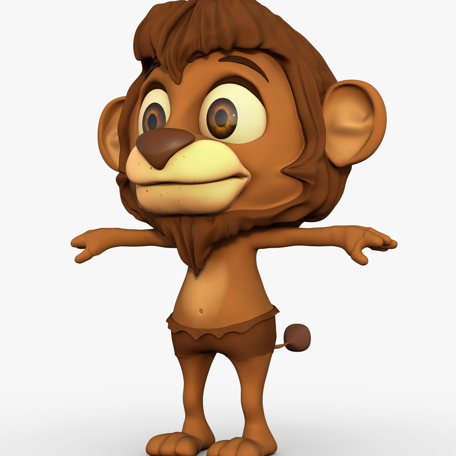Lion Cartoon royalty-free 3d model - Preview no. 1