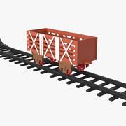 Toy Railway Wagon with Rails 3D Model 3d model