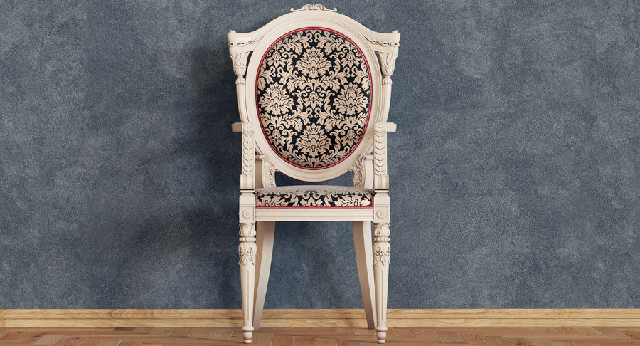 Baroque Chair royalty-free 3d model - Preview no. 5