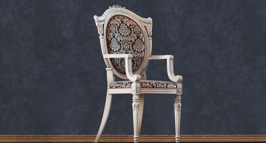 Baroque Chair royalty-free 3d model - Preview no. 12