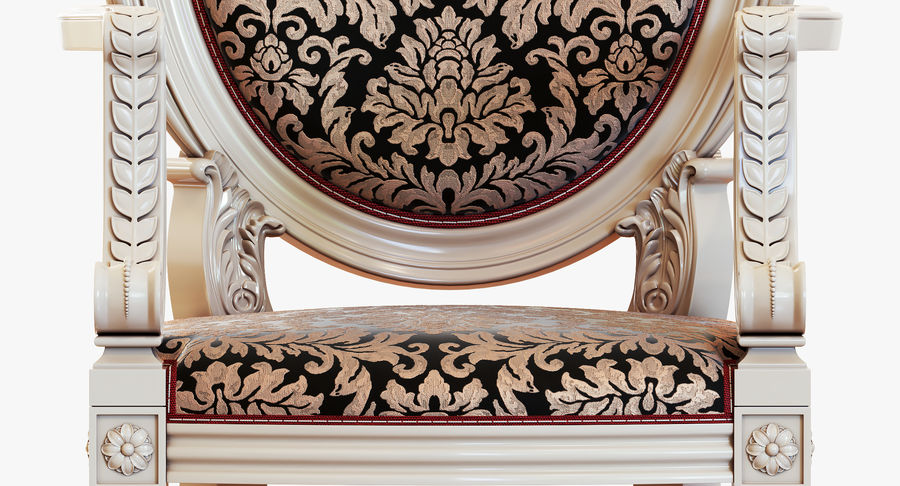 Baroque Chair royalty-free 3d model - Preview no. 14