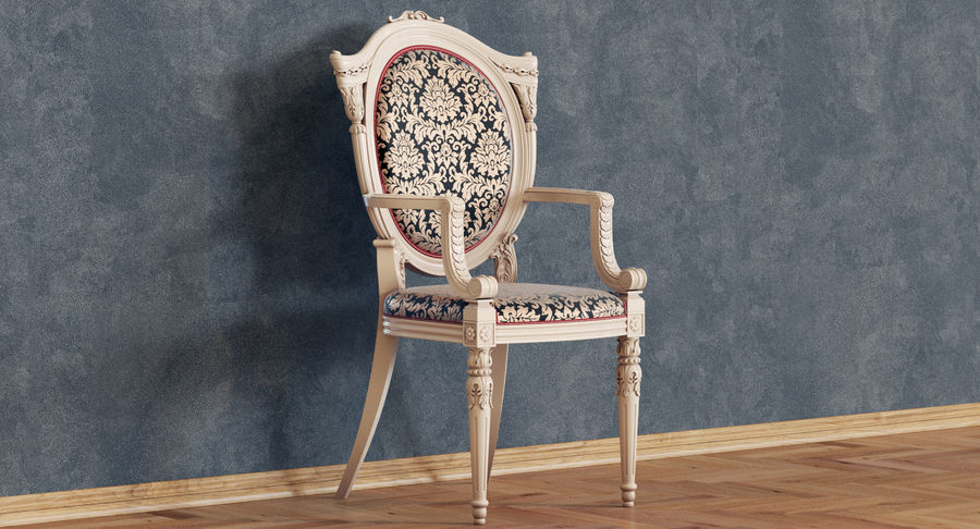 Baroque Chair royalty-free 3d model - Preview no. 2