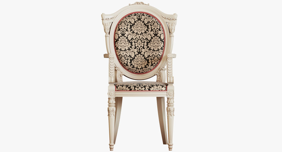 Baroque Chair royalty-free 3d model - Preview no. 4