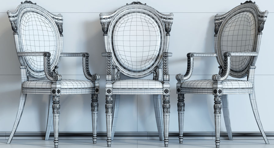 Baroque Chair royalty-free 3d model - Preview no. 10