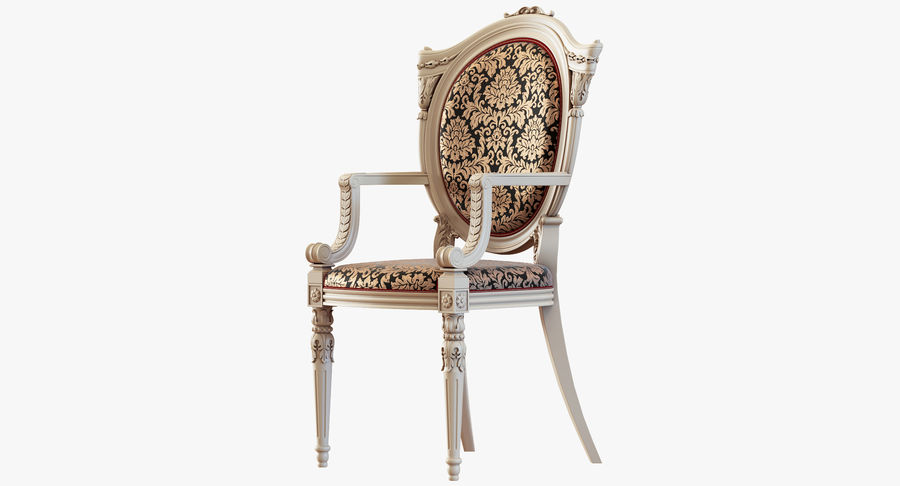 Baroque Chair royalty-free 3d model - Preview no. 3