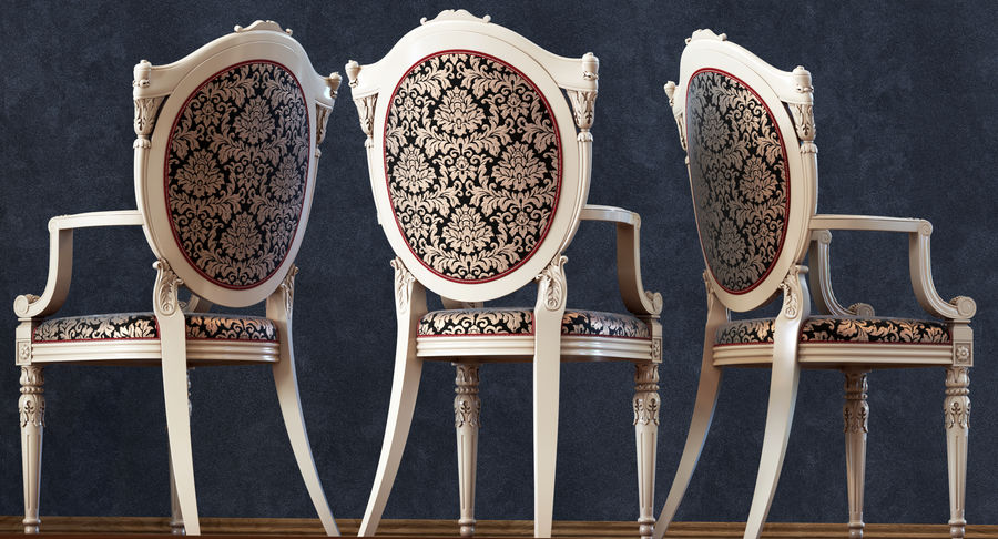 Baroque Chair royalty-free 3d model - Preview no. 7