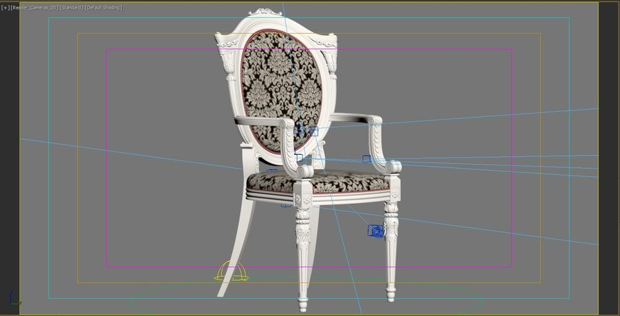 Baroque Chair royalty-free 3d model - Preview no. 22