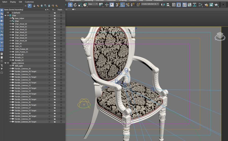 Baroque Chair royalty-free 3d model - Preview no. 23