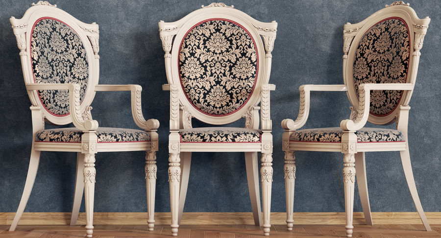 Baroque Chair royalty-free 3d model - Preview no. 6