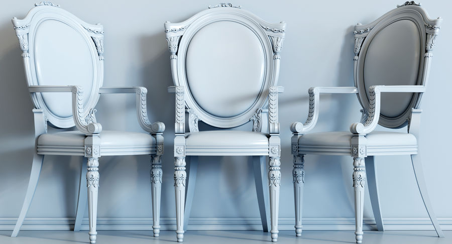 Baroque Chair royalty-free 3d model - Preview no. 9