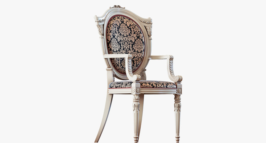 Baroque Chair royalty-free 3d model - Preview no. 11