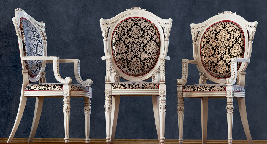Baroque Chair royalty-free 3d model - Preview no. 8