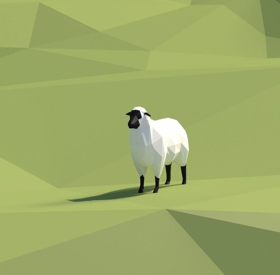 Sheep and hill royalty-free 3d model - Preview no. 2