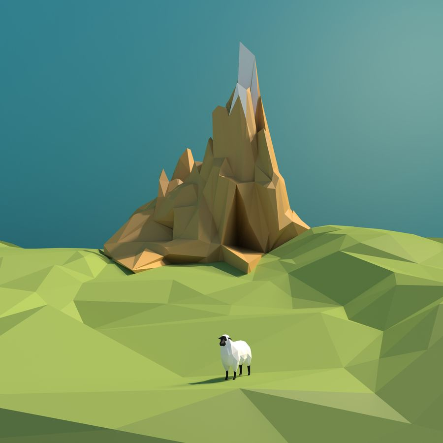 Sheep and hill royalty-free 3d model - Preview no. 1