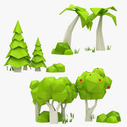 Cartoon Tree Collection 3d model