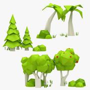Collezione di alberi dei cartoni animati 3d model