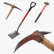 Pickaxe Shovel and Hammer Collection 3d model
