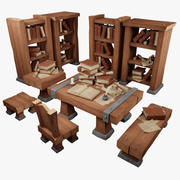 Lowpoly Stylised Library Set 3d model