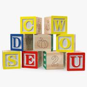 Wooden Letters Blocks 3d model