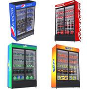 Коллекция холодильников с двухдверным дисплеем Coca 3d model