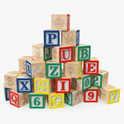 Drewniane klocki alfabetu dla dzieci 3d model