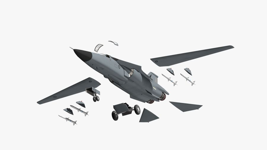 F111 Aardvark royalty-free 3d model - Preview no. 19